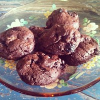 double chocolate cookies withy boozy cherries
